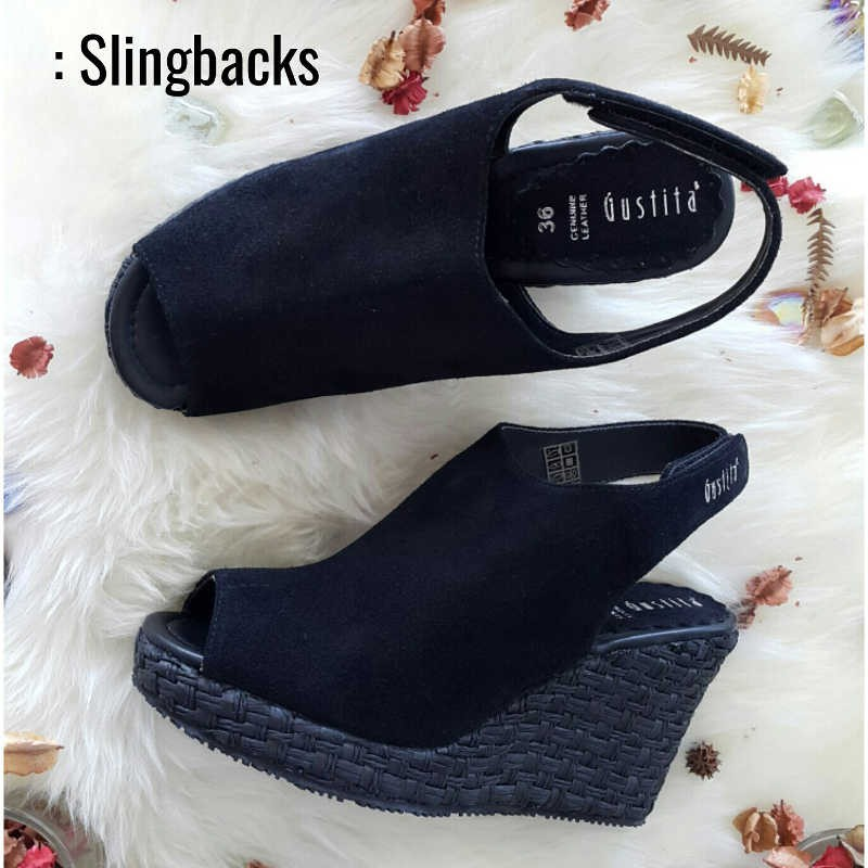Slingbacks - Black - Gustita Luxury Comfort Shoes